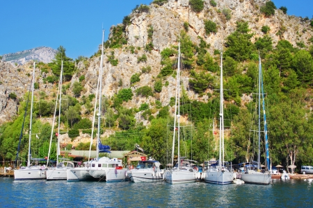 Moored sailing yachts in Turkish harbor Stock Photo - 13867938