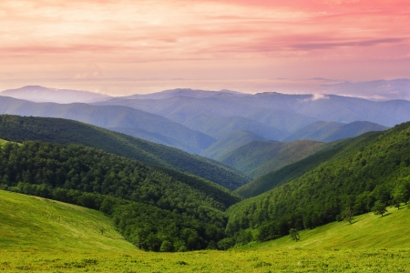 Colorful landscape over ridges of Carpathian Mountains in Ukraine