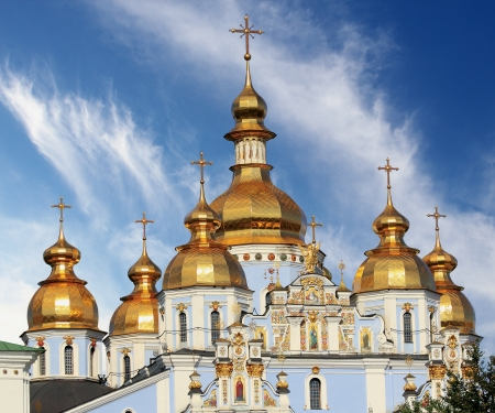 Golden domes of St. Michael Cathedral in Kiev, Ukraine Stock Photo - 14900873
