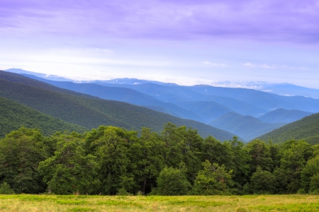Colorful landscape over ridges of Carpathian Mountains in Ukraine