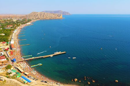 Aerial view on the beach of Sudak in Crimea, Ukraine  photo