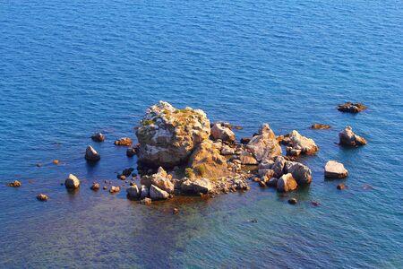 sudak: Rocky island in the Black Sea in Sudak, Crimea
