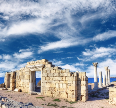 Famous ruins of Khersones in Sevastopol over dramatic blue sky, Crimea, Ukraine Stock Photo