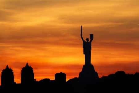 Kiev skyline over beautiful fiery sunset, Ukraine Stock Photo - 15480100