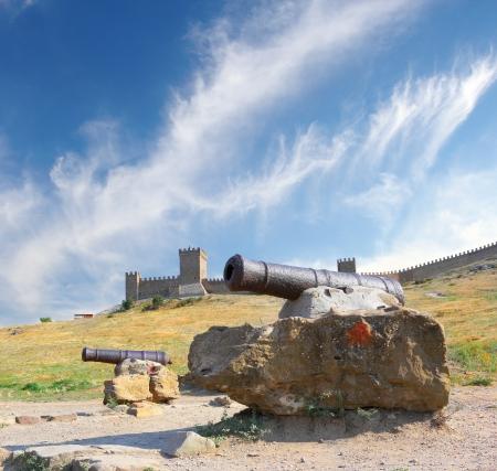 sudak: Cannons at Genovese Fortress in Sudak, Ukraine Stock Photo