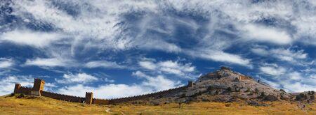 sudak: Genovese fortress Sudak over stunning blue sky, Crimea, Ukraine