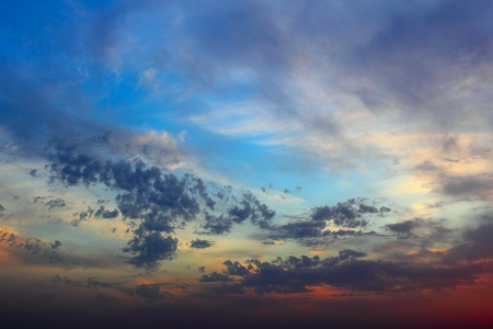 Twilight dramatic cloudy sky with blue and red colors Stock Photo - 15887303