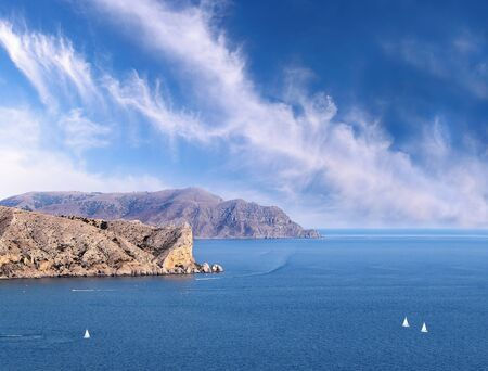 Marine view on rocks of Sudak, Crimea, Ukraine photo