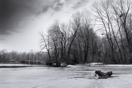 Dramatic frozen river landscape, black and white Stock Photo - 18373007