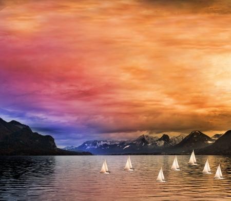 夕方ジュネーブ湖に多くのヨット