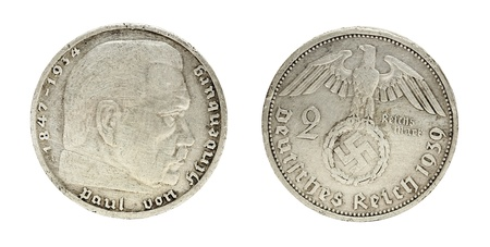 deutschemarks: Both sides of two reichs mark coin, year 1939