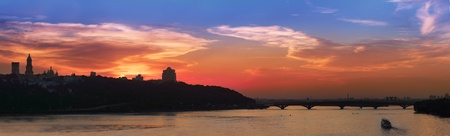 dnieper: Panoramic view on Kiev skyline in the evening