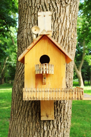 man made: Wooden man made birdhouse nailed to the tree  Stock Photo