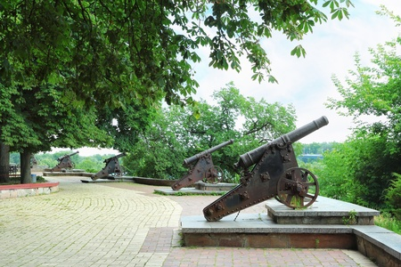 rampart: Rampart with a row of medieval cannons in Chernigiv, Ukraine Stock Photo
