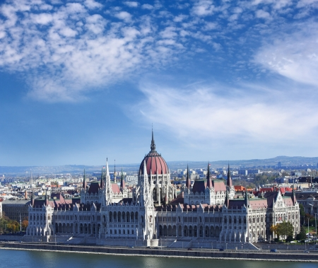 known: Hungarian parliament on the bank of Danube, built in Gothic style, Budapest Stock Photo