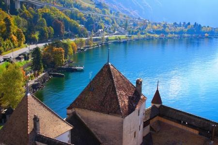 モントルーのシヨン城。ジュネーブ湖、スイス 写真素材