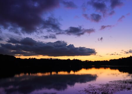 river scape: Beautiful dramatic river scape in the evening