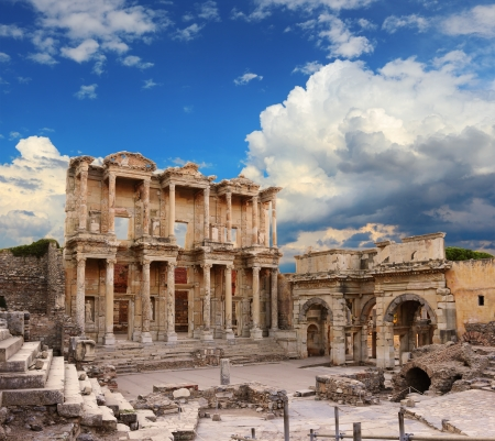 ruins is ancient: Celsus Library in Ephesus, Turkey  Stock Photo