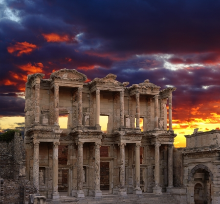 Celsus Library in Ephesus at sunset, Turkey  Stock Photo