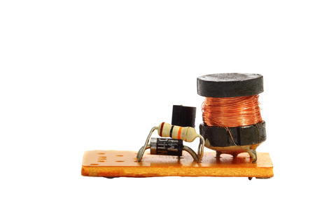 resistors: Electronic circuit with resistors and a coil, isolated on white background