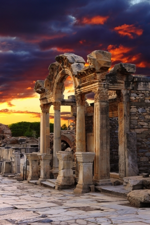 Hadrian Temple in Ephesus, near Celcuk, Turkey Stock Photo