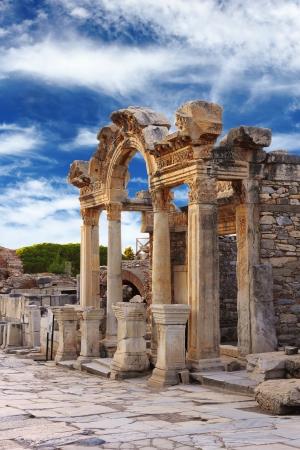 Hadrian Temple in Ephesus, near Celcuk, Turkey Stock Photo