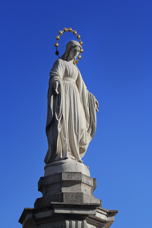 lvov: Statue of Virgin Mary at the central street of Lvov, Ukraine Stock Photo