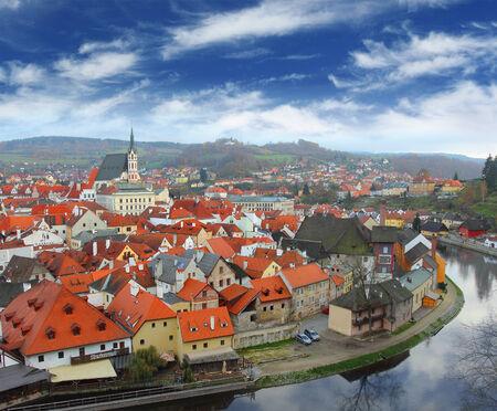 View on Czech Krumlov from the high point, Czech Republic