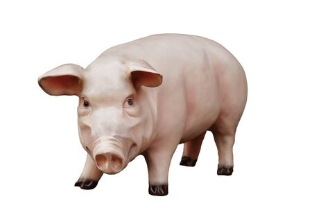 swines: Artificial pig isolated on white background Stock Photo
