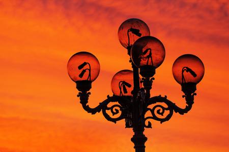 architectural lighting design: Old-fashioned lamp post in Mariinsky park in kiev