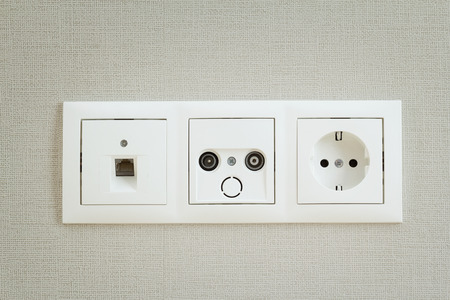 rj 45: Different types of sockets on the wall