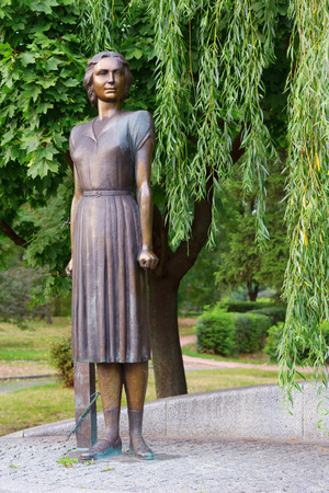 partisan: KIEV - UKRAINE, JULY - 30, 2015: A monument to Tetyana Markus - the hero of Ukraine who was a partisan in Kiev during the Second World war. She killed tens of German officers. Editorial
