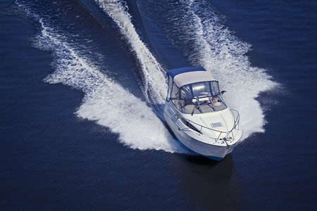 Motor boat sailing at high speed Stock Photo