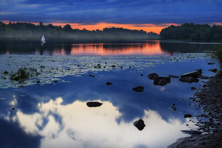 dnieper: Beautiful view on sunset on foggy river