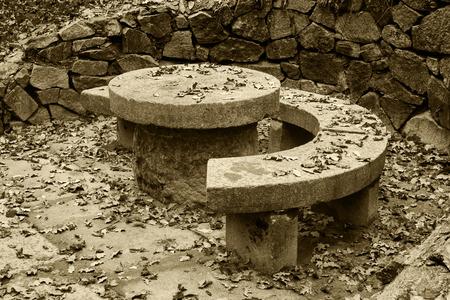 granite park: A granite round table in Alexandria park in Belaya Tserkov, Ukraine