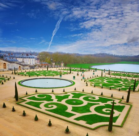 grass plot: Beautiful Royal park of Versailles with neatly cut garden, France