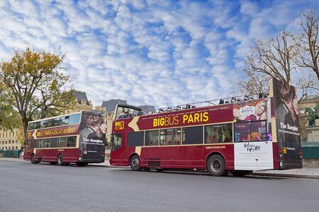roofless: PARIS - NOVEMBER 22, 2015:  Touristic buses ready for a trip around Paris, France
