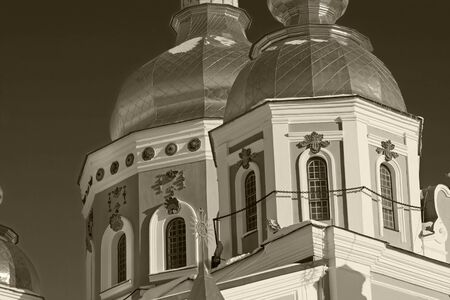 blak and white: Golden domes of St. Michael Cathedral in Kiev, Ukraine