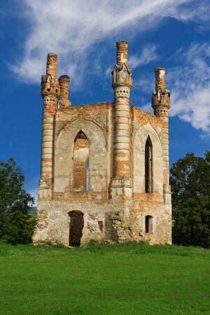 The tower of Glukhni castle built in XIV century by king Svydrygaylo in Novomalyn, Ukraine