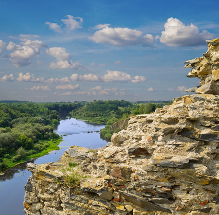 river scape: Ruins of the Gubkiv  at the edge of the hill with a view on river scape, Ukraine