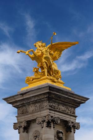 alexandre: Close up view of Sculpture on the pillar on the bridge of Pont Alexandre III, Paris, France
