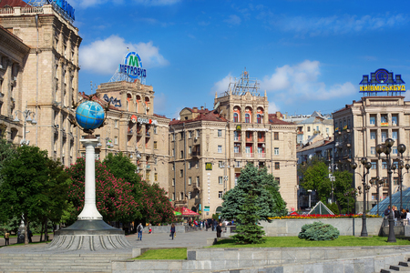 globe  the terrestrial ball: KIEV, UKRAINE - MAY 16, 2016:  Independence Square in Kiev - one of the most popular places where people like to meet, Ukraine Editorial