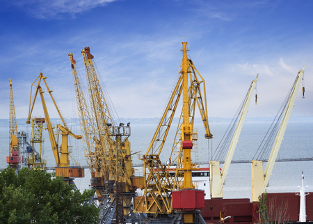 Cargo cranes used for heavy weight lifting. Odessa, Ukraine Stock Photo
