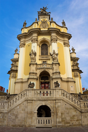 Entrance to one of the most popular churches in Lviv - St. Georges Cathedral Фото со стока