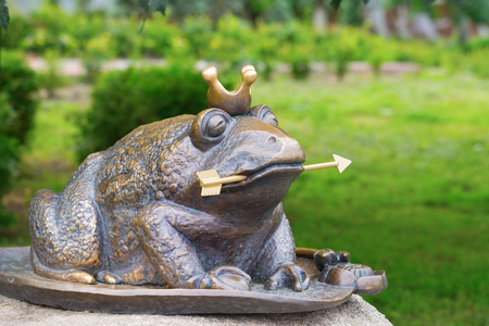 recently: KIEV, UKRAINE - 18 JUNE, 2016: The well known character of the Russian fairy tale - the Frog Princess. Recently erected statue in Kiev, Ukraine Editorial