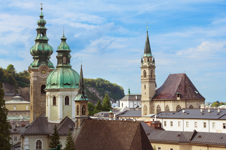 dom: View on domes of Salzburg Cathedral (Salzburger Dom), Austria Stock Photo