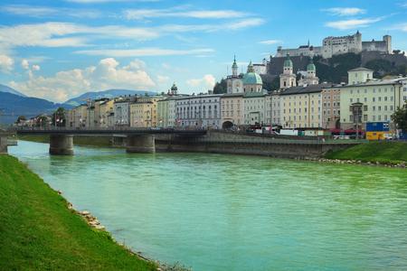 salzach: Cityscape of Salzburg: view on Salzach river and Hohensalzburg castle, Austria