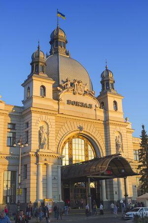 september 2: Lviv, Ukraine - September 2, 2016: Early morning at the central railway station of Lviv, Ukraine