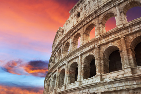 Coliseum fragment at beautiful red sunset, Rome, Italy Stock Photo