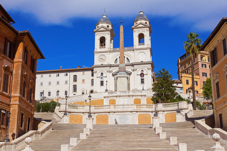 The Spanish Steps in Rome over blue sky, Italy